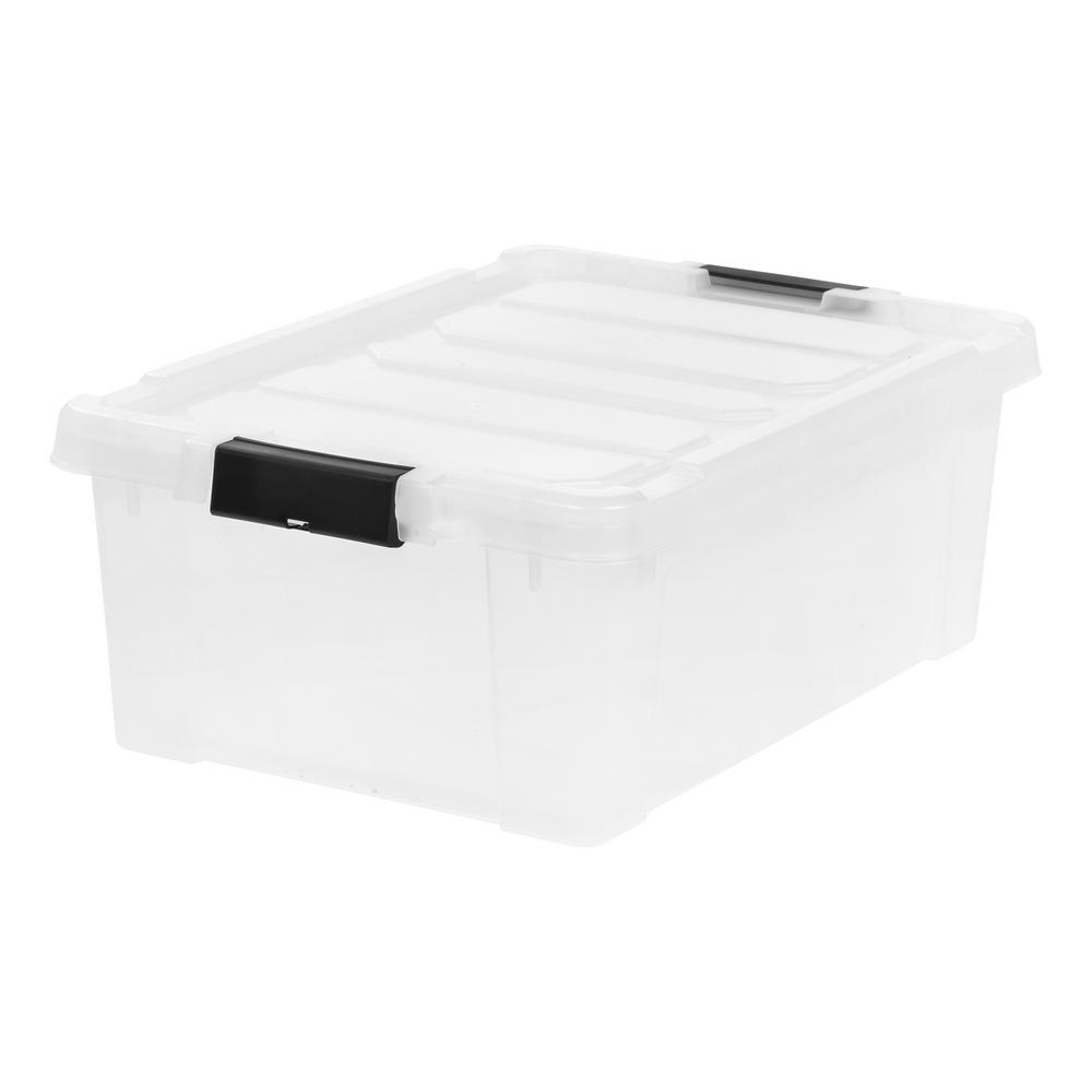 IRIS 10 Gal. Store-It-All Storage Bin in Clear with Black Buckles (4-Pack)