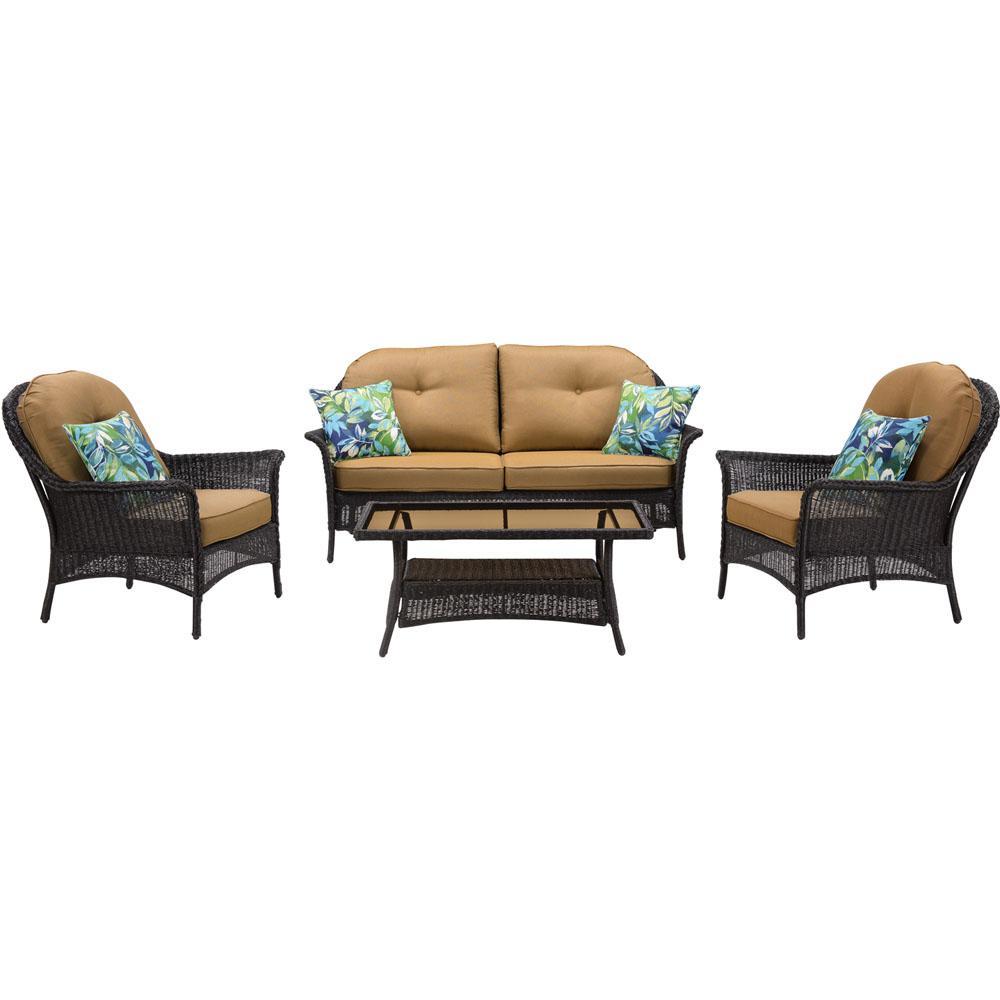 Saros 4-Piece Steel Outdoor Conversation Set with Tan Cushions