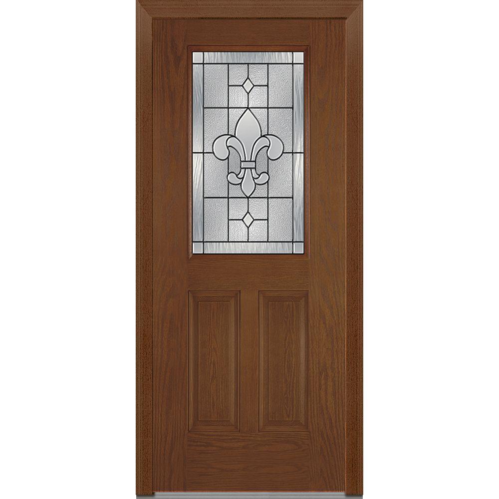 mmi door 37 5 in x in carrollton decorative glass 1 2 lite oak finished fiberglass. Black Bedroom Furniture Sets. Home Design Ideas