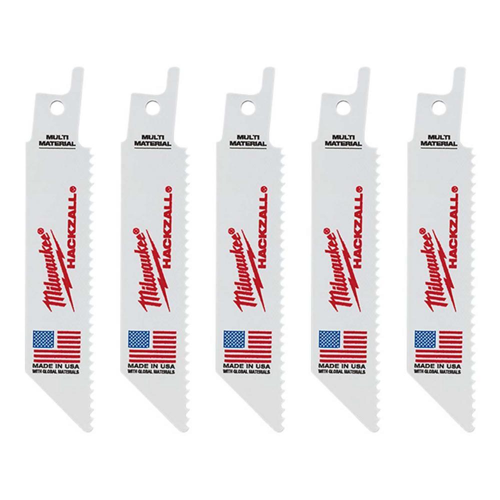 4 in. 10 Teeth Per in. Multi Material Cutting HACKZALL Reciprocating Saw BladesBlade (5 Pack)