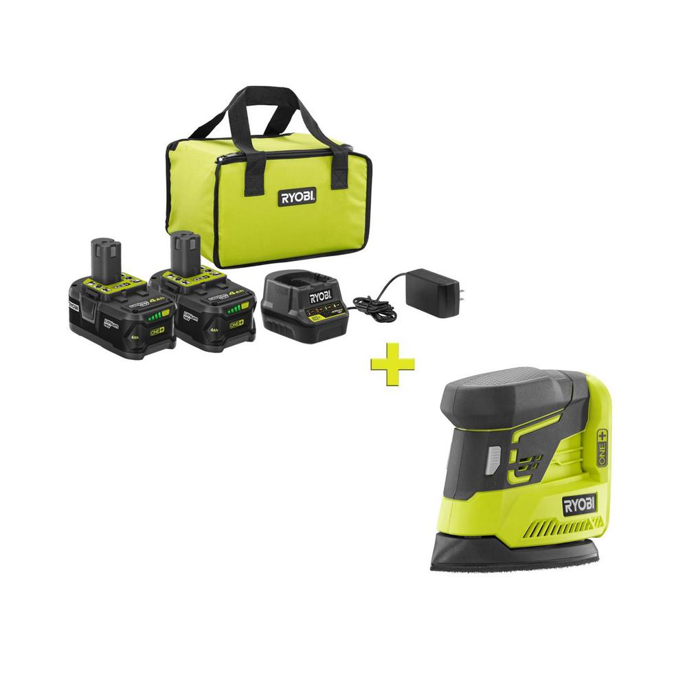 RYOBI 18-Volt ONE+ High Capacity 4.0 Ah Battery (2-Pack) Starter Kit with Charger and Bag w/FREE ONE+ CornerCat Finish Sander was $261.97 now $99.0 (62.0% off)