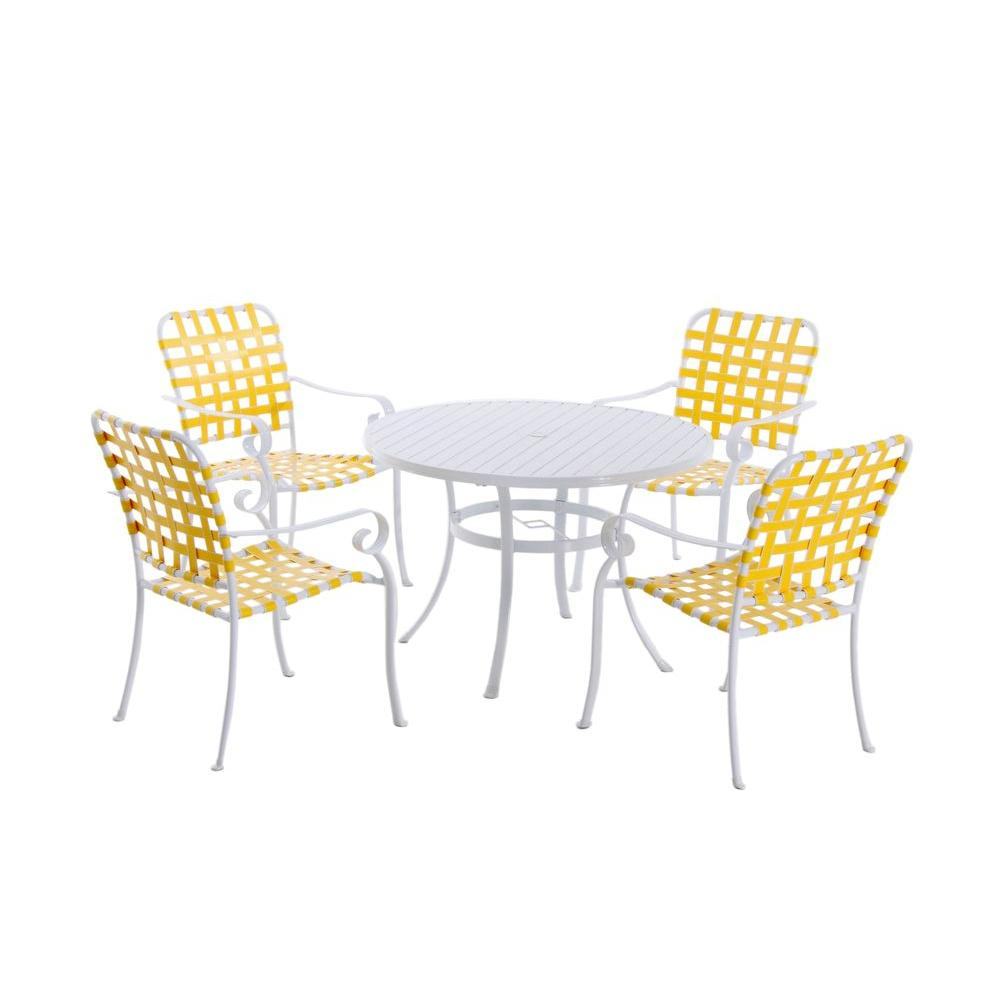 Hampton Bay Summerville 5-Piece Patio Dining Set in Yellow-DISCONTINUED