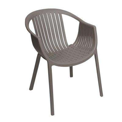Basket Weave Taupe Patio Dining Chair (2 Pack)
