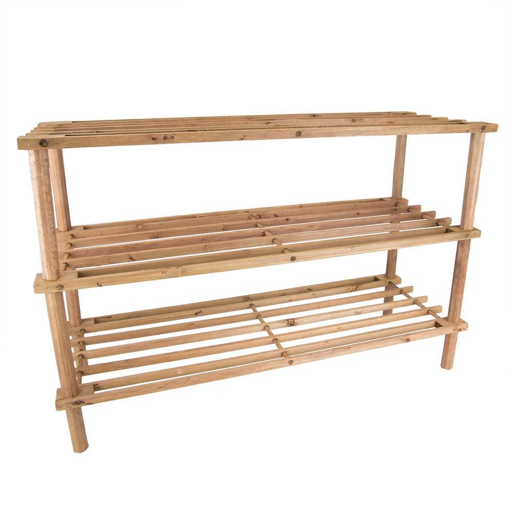 12-Pair 3-Tier Wooden Shoe Rack