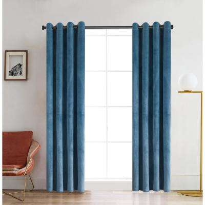 Regency 95 in. L x 52 in. W Semi-Opaque Room Darkening Polyester Curtain in Dusty Blue