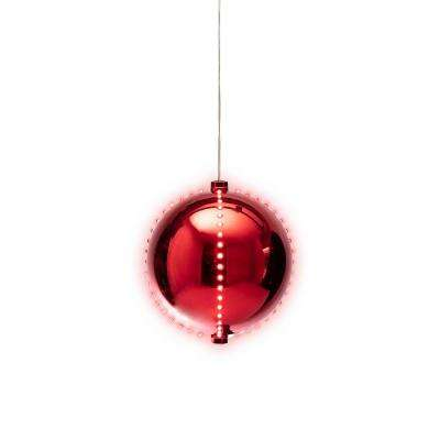 """Alpine Corporation Glowing Ball Ornament with LED Lights, Festive Holiday Christmas Tree Decoration, Red, 7"""""""