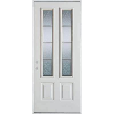 32 in. x 80 in. Geometric Clear and Zinc 2 Lite 2-Panel Painted White Right-Hand Inswing Steel Prehung Front Door