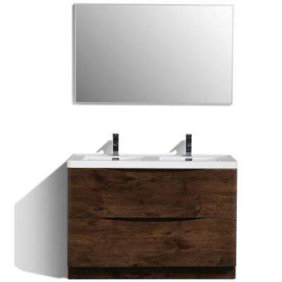 Smile 48 in. W x 19 in. D x 33.5 in. H Vanity in White with Acrylic Vanity Top in Rosewood with White Basin