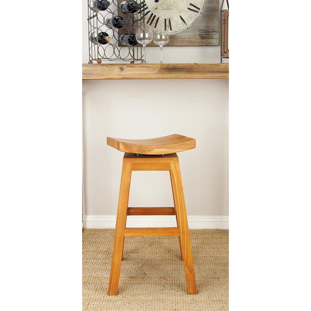Litton Lane New Traditional Brown Teak Wood Saddle Bar Stool