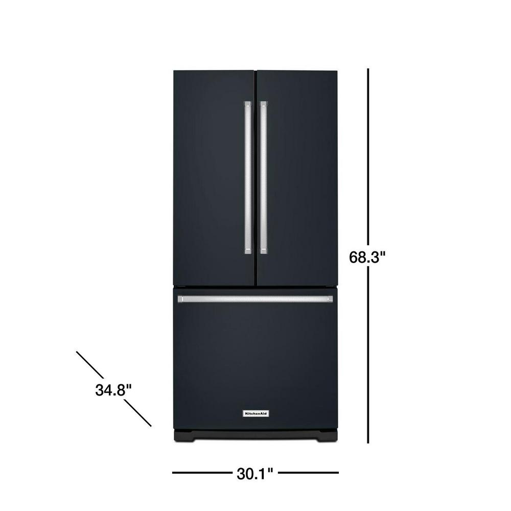 Kitchenaid 20 Cu Ft French Door Refrigerator In Printshield Black Stainless With Interior Water Dispenser