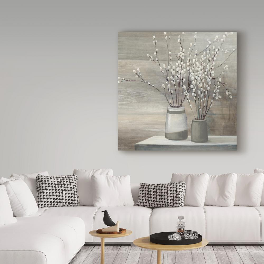 "24 in. x 24 in. ""Pussy Willow Still Life Gray Pots"