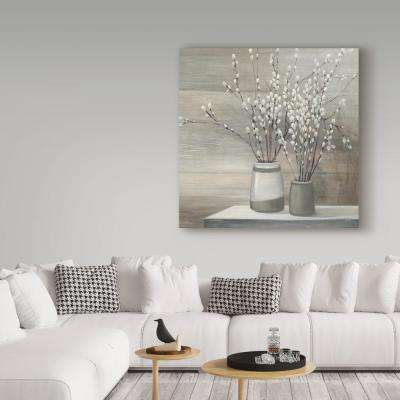 "35 in. x 35 in. ""Pussy Willow Still Life Gray Pots Crop"" by Julia Purinton Printed Canvas Wall Art"
