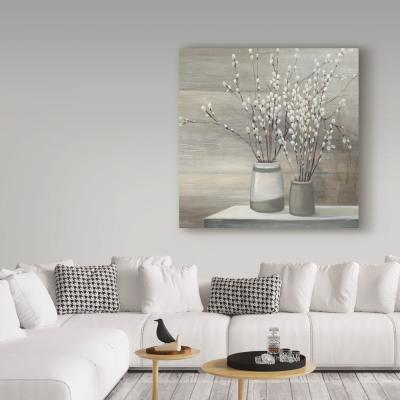 "18 in. x 18 in. ""Pussy Willow Still Life Gray Pots Crop"" by Julia Purinton Printed Canvas Wall Art"