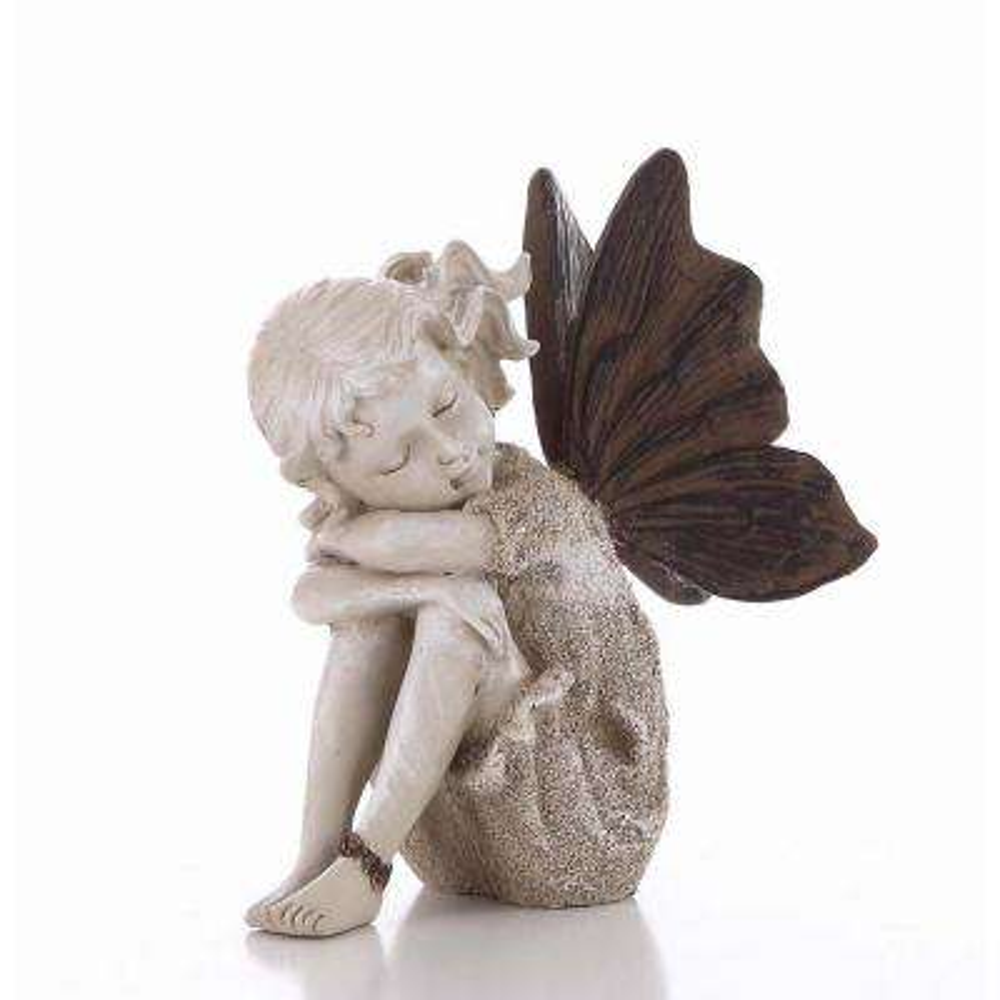 Sitting Fairy Sand Finish Statue