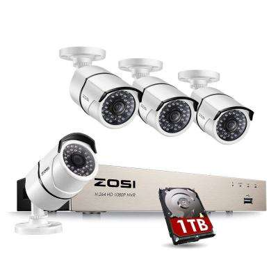 1080p PoE 8-Channel 1TB Hard Drive DVR Security Camera System with 4-Wired Bullet Cameras