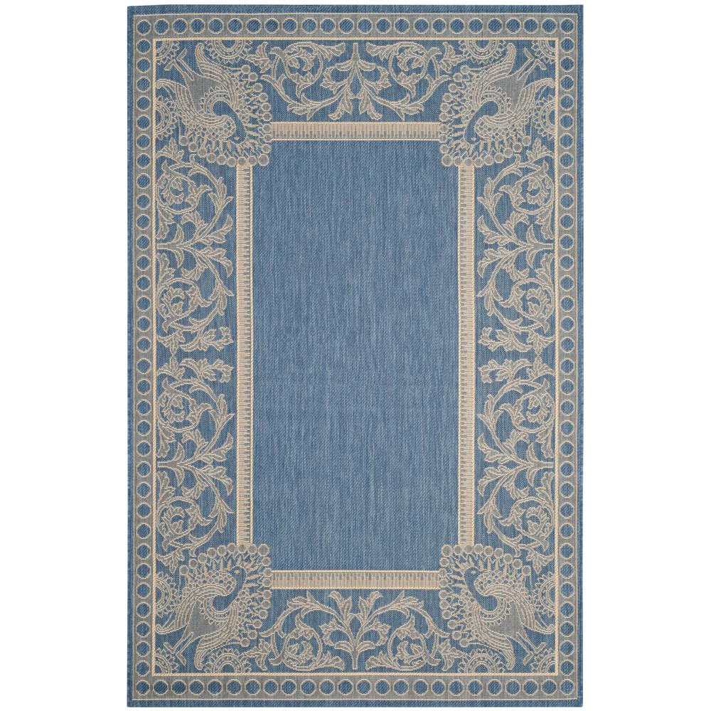 Safavieh Courtyard Blue/Natural 5 ft. 3 in. x 7 ft. 7 in. Indoor/Outdoor Area Rug