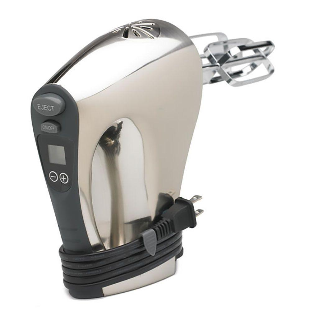16-Speed Digital Stainless Steel Hand Mixer with Built-In Timer