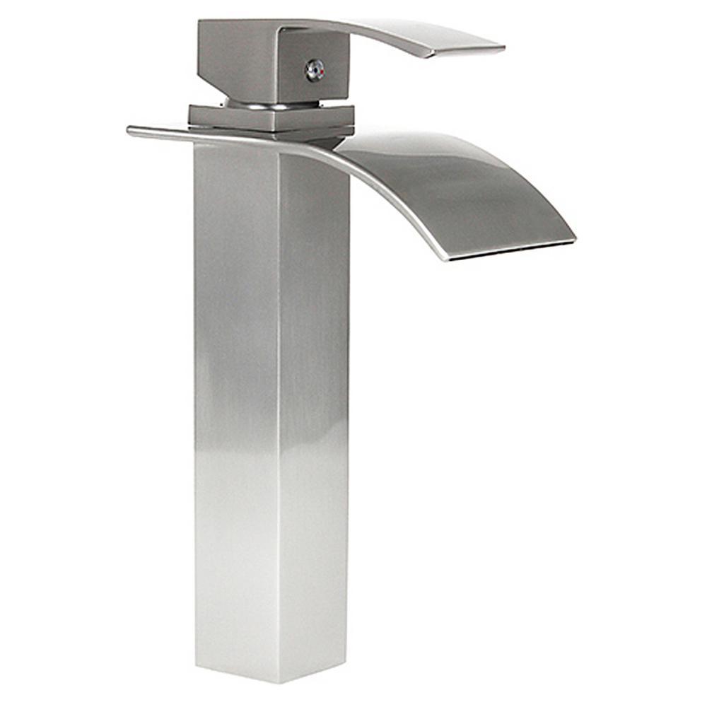 Raina Single Hole Single-Handle Vessel Bathroom Faucet in Brushed Nickel
