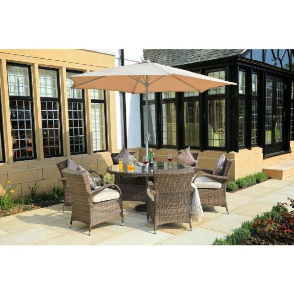 Attina Brown 7-Piece Wicker Outdoor Dining Set with Beige Cushions
