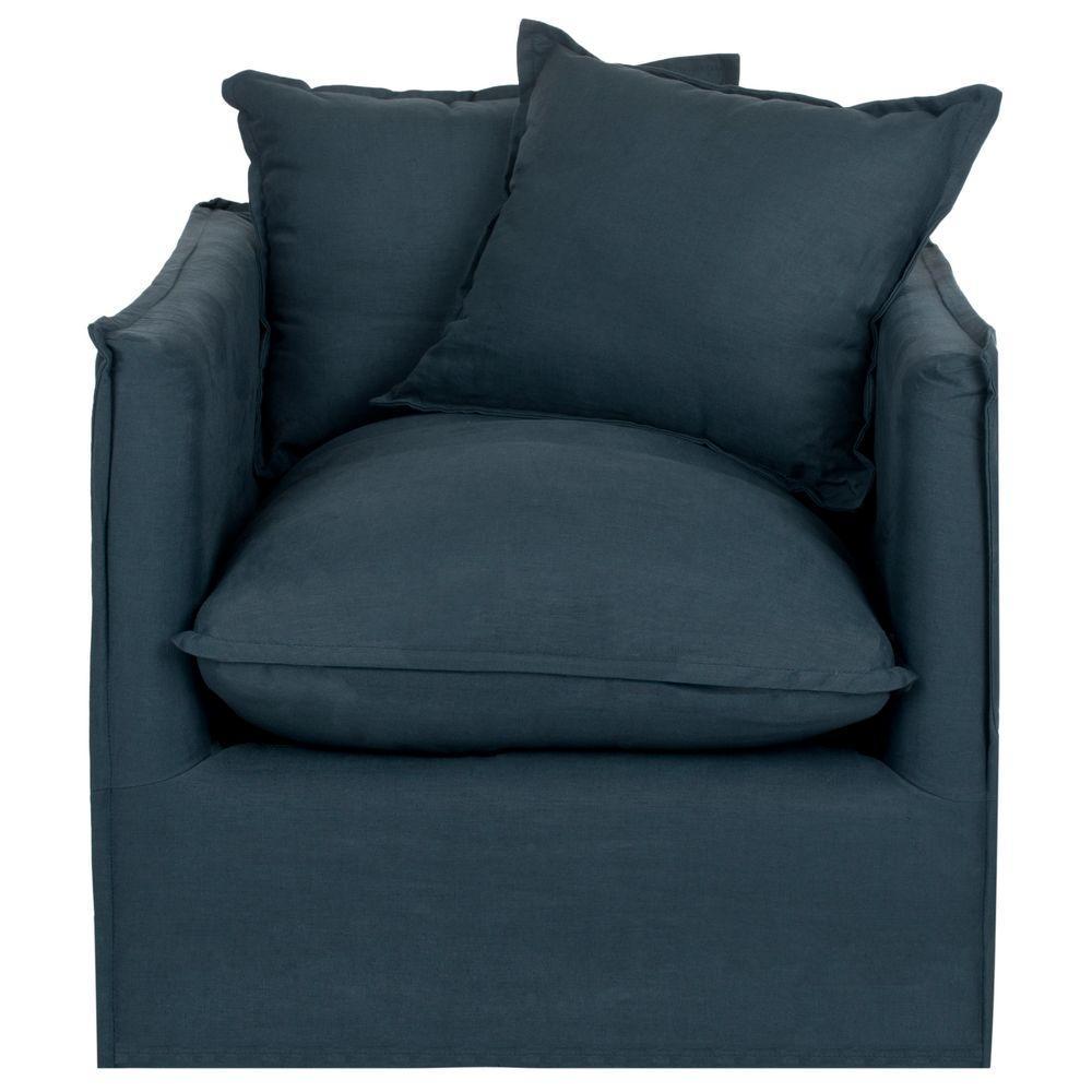 Joey Blue/Black Cotton Blend Arm Chair