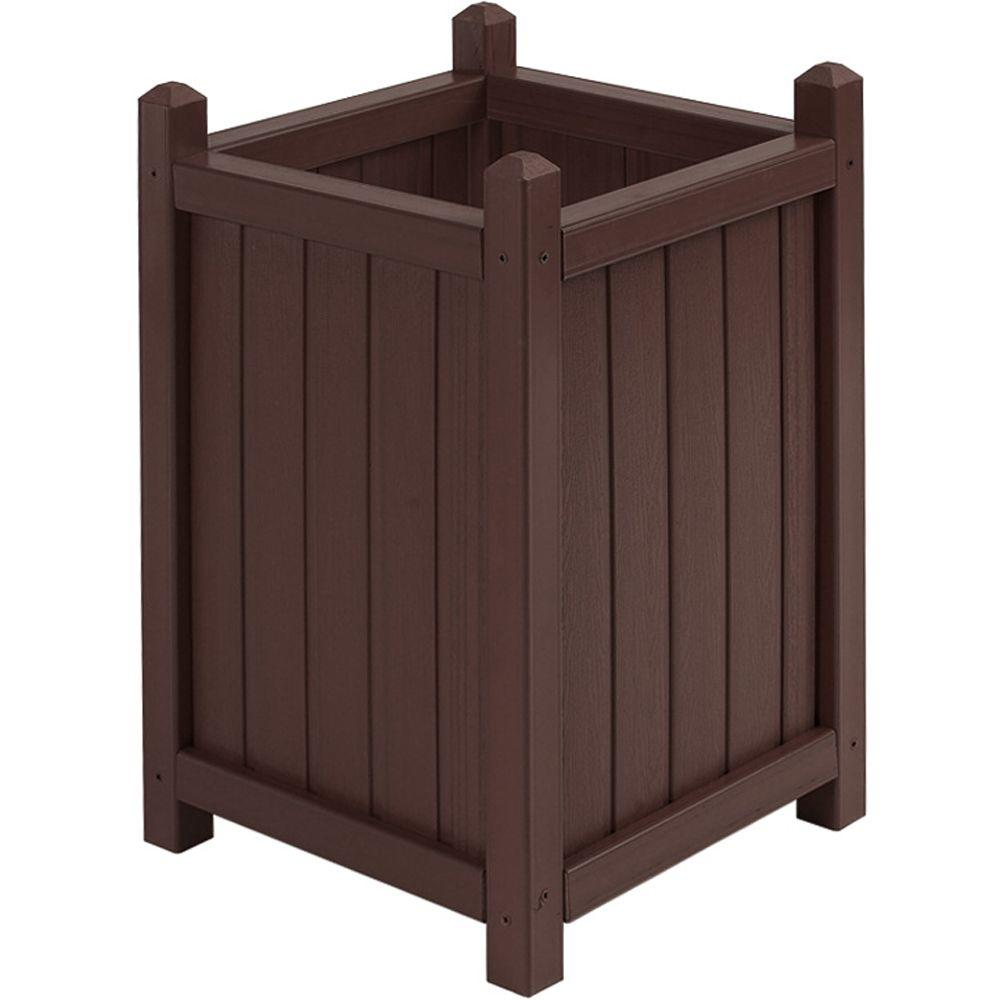 16 in. Square Tall Smoke All Weather Composite Crown Planter