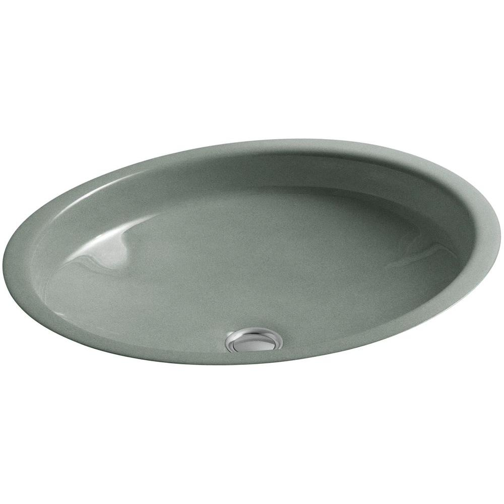 Kohler Canvas Undermount Cast Iron Bathroom Sink In Basalt With Overflow Drain K 2874 Ft The