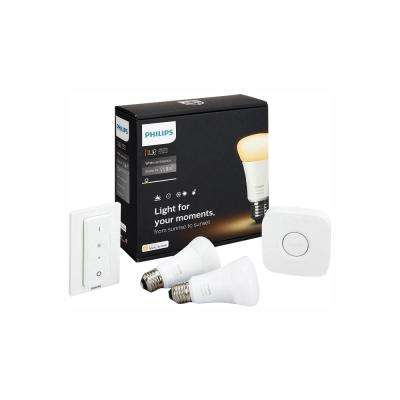White Ambiance A19 LED 60W Equivalent Dimmable Smart Wireless Lighting Starter Kit (2 Bulbs, Bridge, and Dimmer Switch)