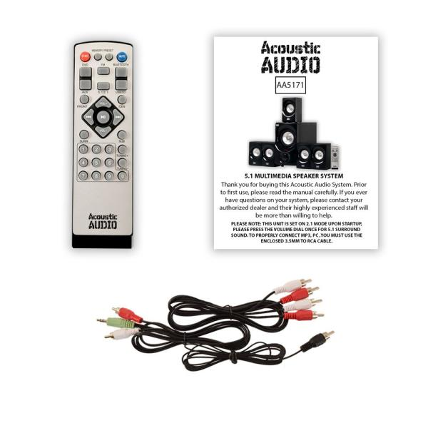 Acoustic Audio AA5171 Home Theater 5.1 Bluetooth Speaker System with FM and 2 Extension Cables