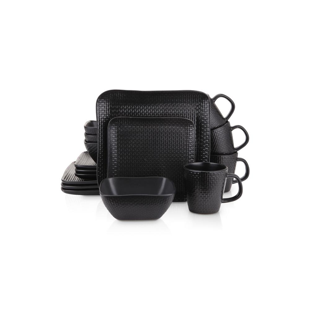 32-Piece Casual Black Stoneware Dinnerware Set (Set for 8)