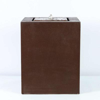 Aged Bronze Square 20 in. H Fountain with LED Light