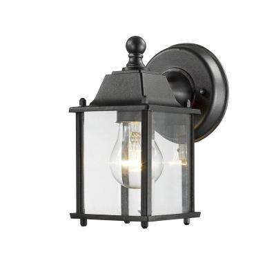Rainer 1-Light Black Outdoor Wall Mount Sconce with Clear Beveled Glass