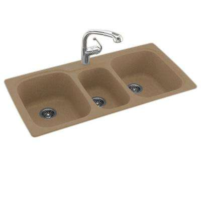 Drop-In/Undermount Solid Surface 44 in. 1-Hole 40/20/40 Triple Bowl Kitchen Sink in Barley