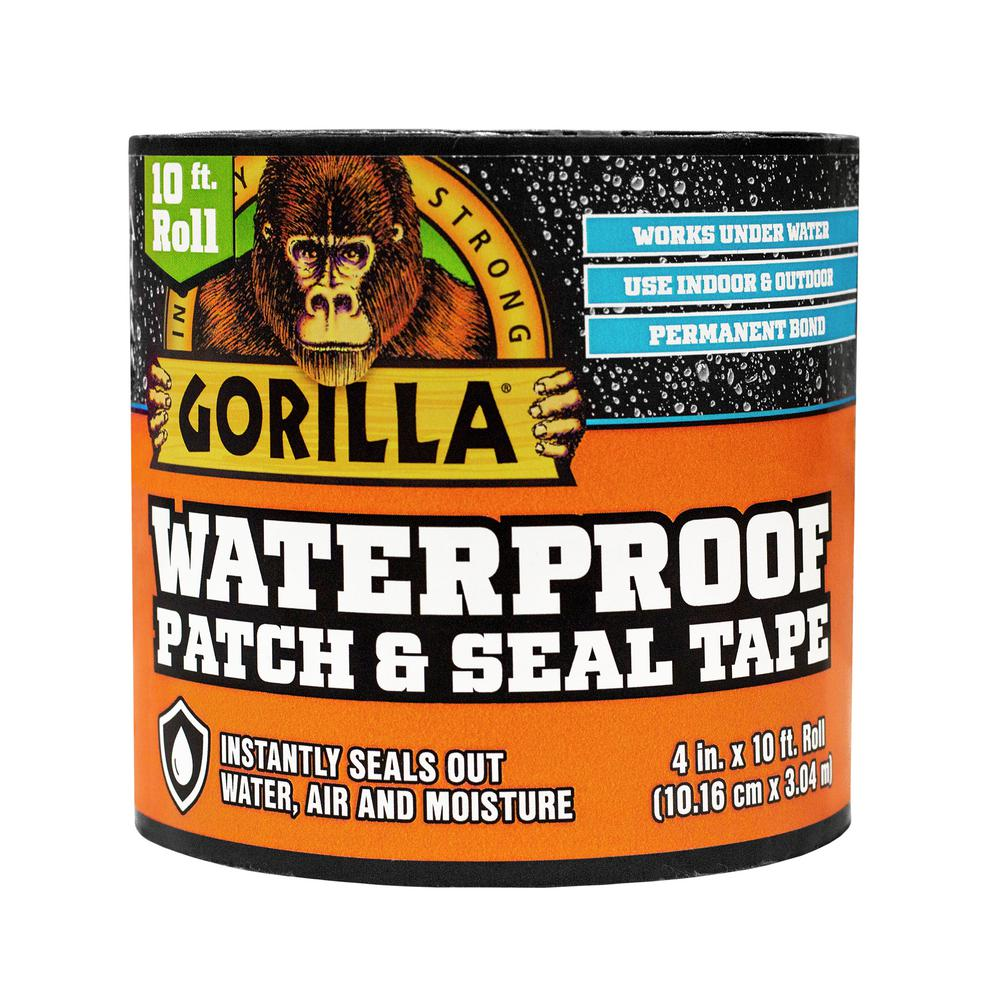 Gorilla Gorilla 4 in. x 10 ft. Black Waterproof Patch and Seal Tape