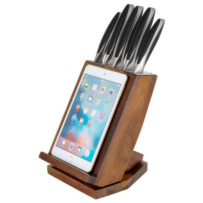 6-Piece Japanese Stainless Steel Knife Block Set with Rotating Knife Block and Tablet Holder