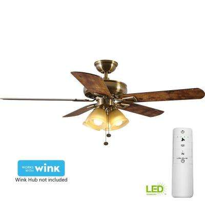 Lyndhurst 52 in. LED Antique Brass Smart Ceiling Fan with Light Kit and WINK Remote Control