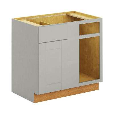 Princeton Shaker Assembled 36x34.5x24 in. Blind Corner Base Cabinet in Warm Gray