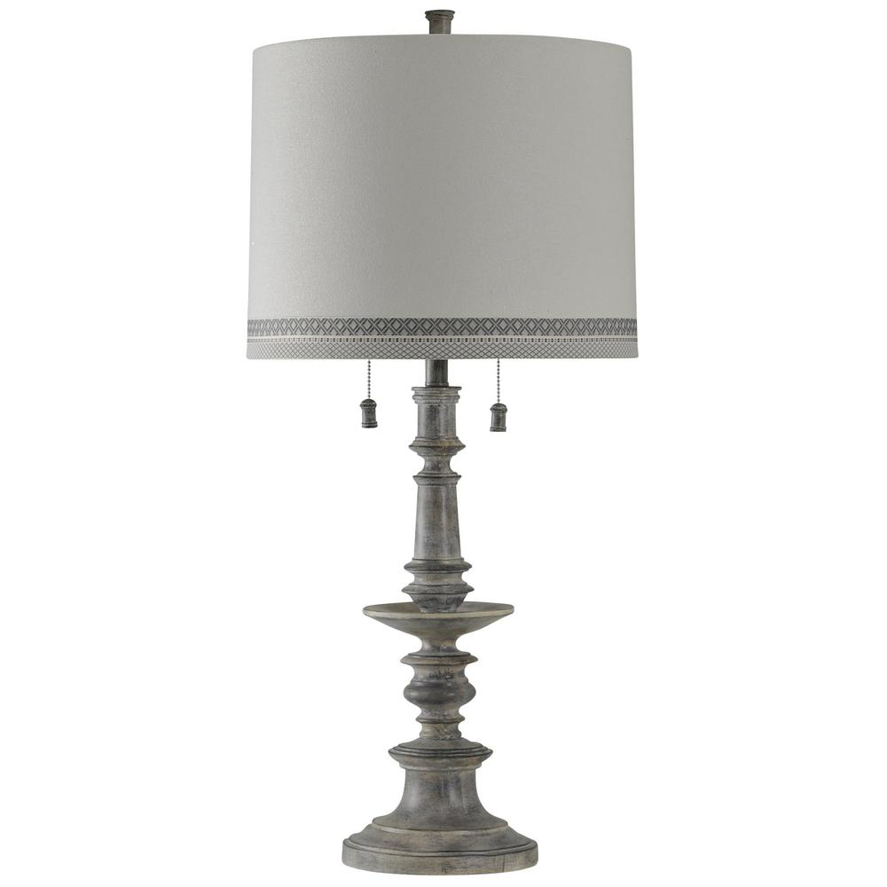 Charmant StyleCraft. 36 In. Washed Gray Table Lamp With White Hardback Fabric Shade