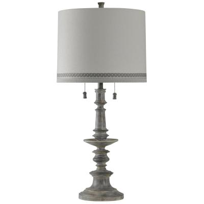 36 in. Washed Gray Table Lamp with White Hardback Fabric Shade