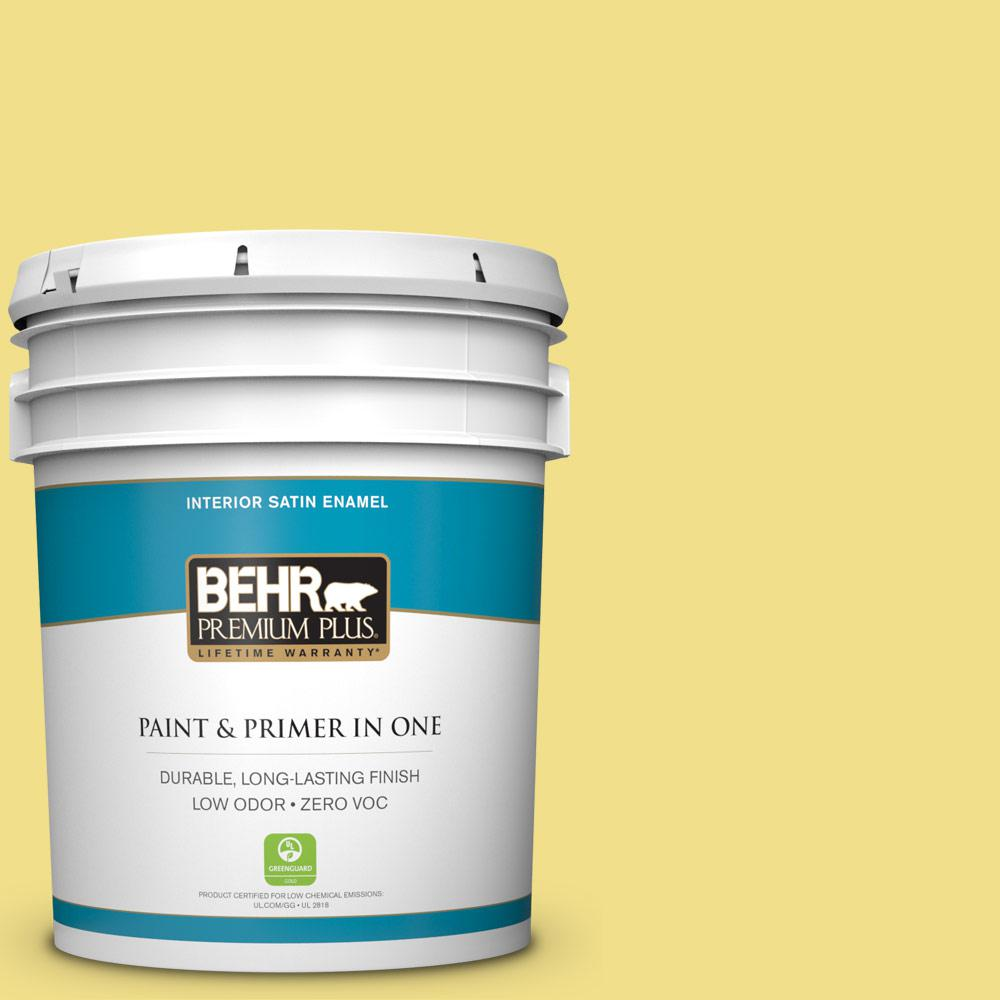 5 gal. #HDC-SP16-03 Lemon Curd Zero VOC Satin Enamel Interior Paint