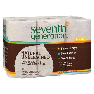 Unbleached 100% Recycled Bathroom Tissue 2-Ply (48 Rolls per Carton)