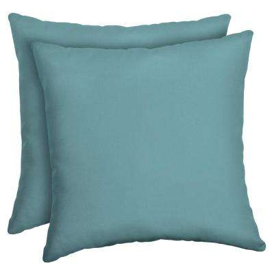 Surf Canvas Texture Square Outdoor Throw Pillow (2-Pack)