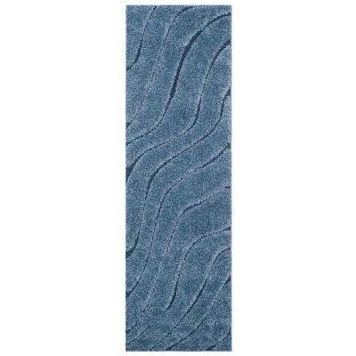 Florida Shag Light Blue/Blue 2 ft. x 7 ft. Runner Rug