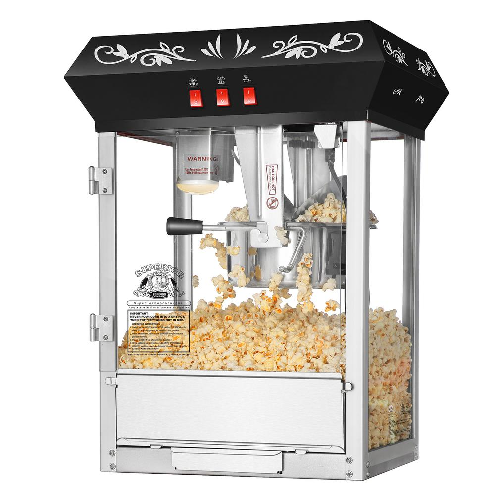 8 oz. Movie Night Black Countertop Style Popcorn Popper
