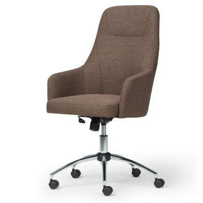 Jules Swivel Adjustable Executive Computer Office Chair in Chocolate Brown Linen Look Fabric