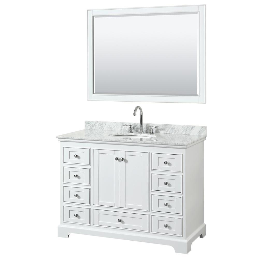 Deborah 48 in. Single Vanity in White with Marble Vanity Top in White Carrara with White Basin and 46 in. Mirror