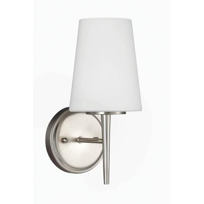 Driscoll 1-Light Brushed Nickel Wall/Bath Sconce with Inside White Painted Etched Glass