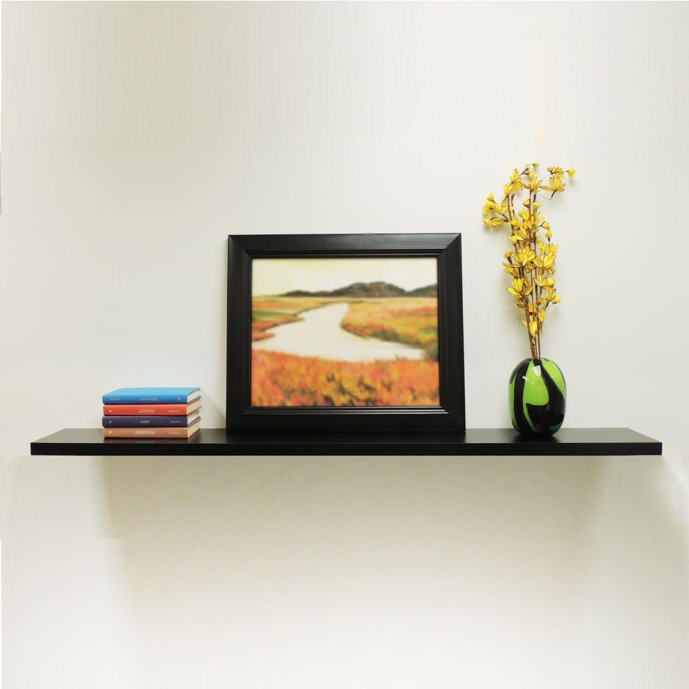 9084674 Floating Wall Shelf 48 Inch Wide by 1.25 Inch High Wall Shelf Black