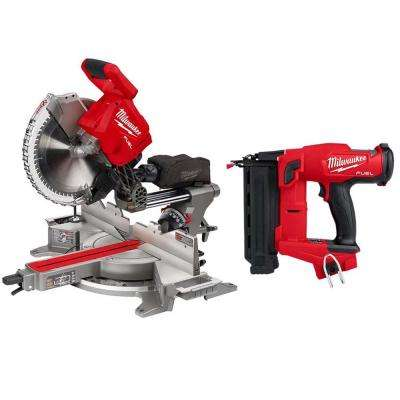 M18 FUEL 18-Volt Lithium-Ion Brushless 12 in. Cordless Dual Bevel Sliding Compound Miter Saw with 18-Gauge Brad Nailer