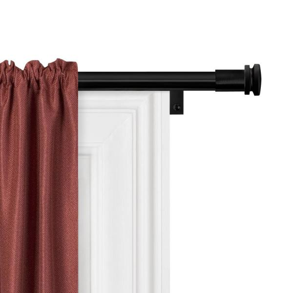 Smart Rods No Measuring Easy Install Adjustable Drapery Window Rod, 48 to 120 in., with Cap Finials in Black