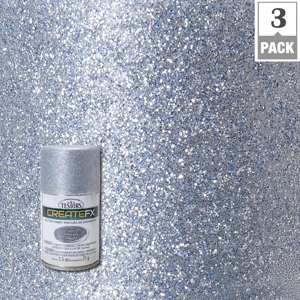 Testors createfx 2 5 oz silver glitter spray paint 3 for How to make metallic paint